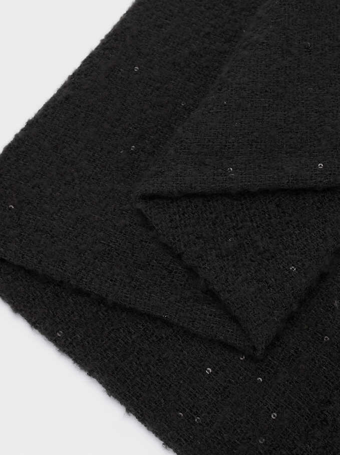 Maxi Scarf With Sequinned Detail, Black, hi-res