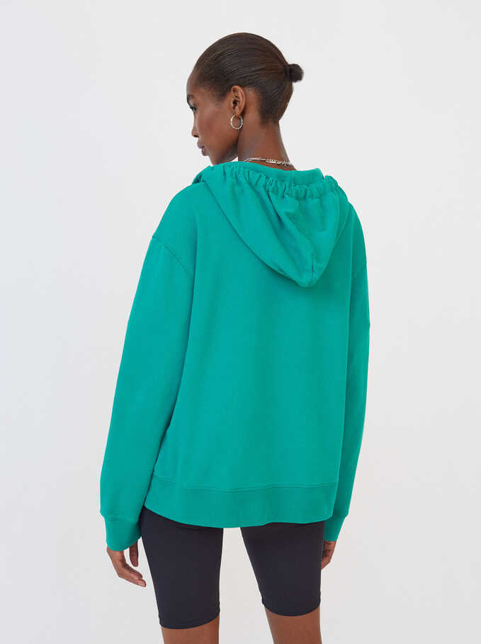 Knit Hoodie, Green, hi-res