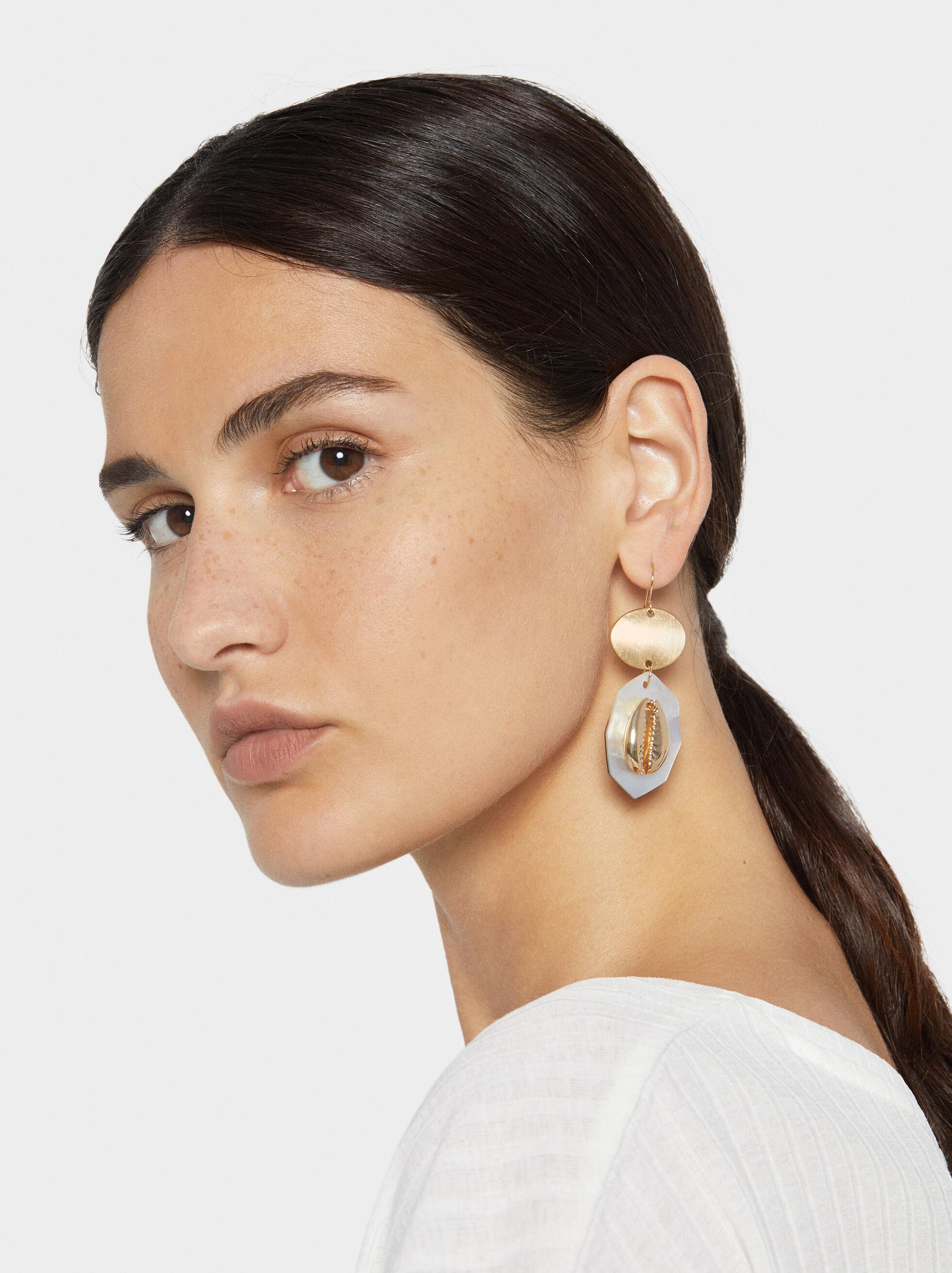 Golden Basics Seashell Dangle Earrings, Golden, hi-res