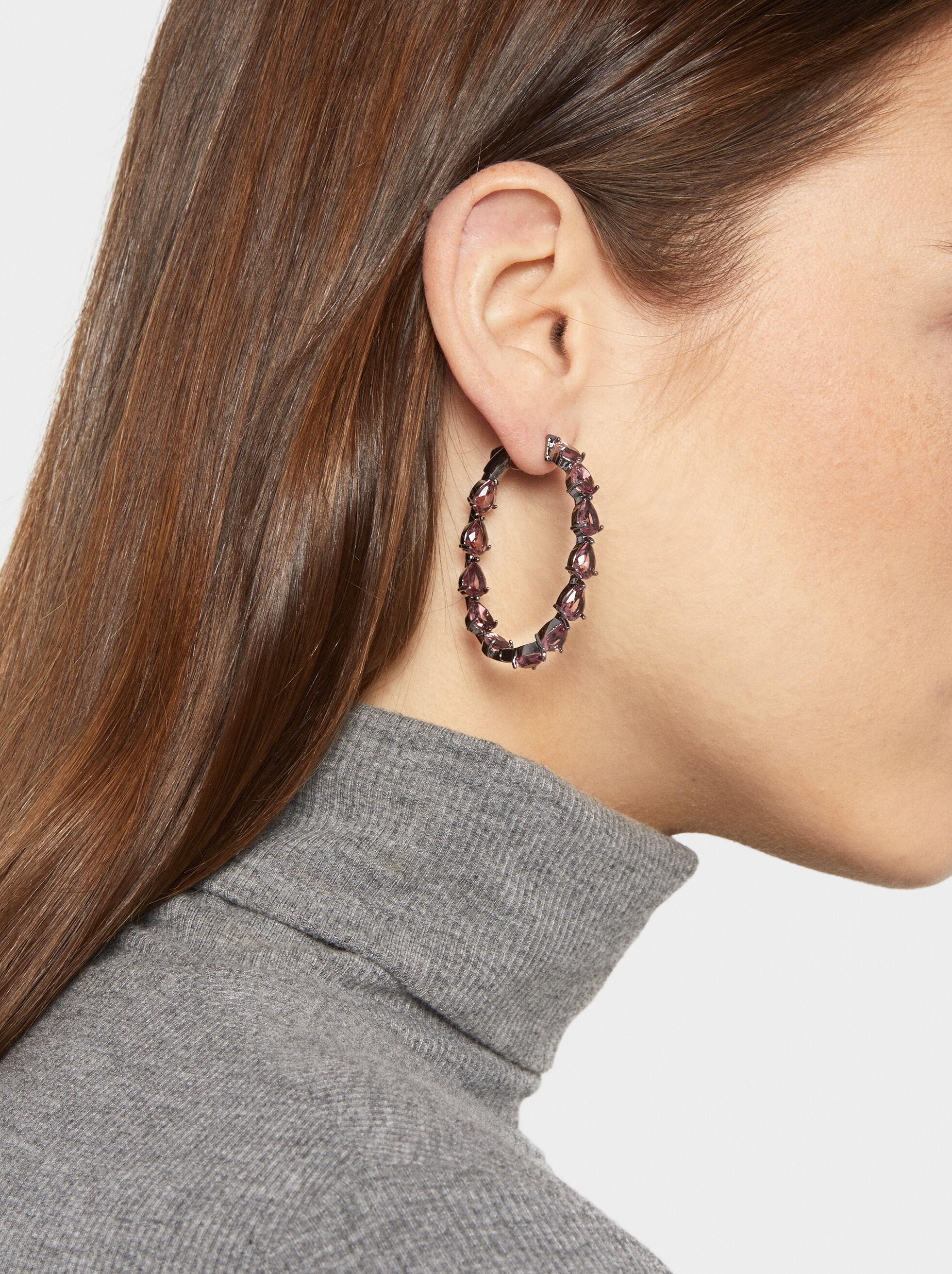 Sparkling Medium Rhinestone Hoop Earrings, Pink, hi-res