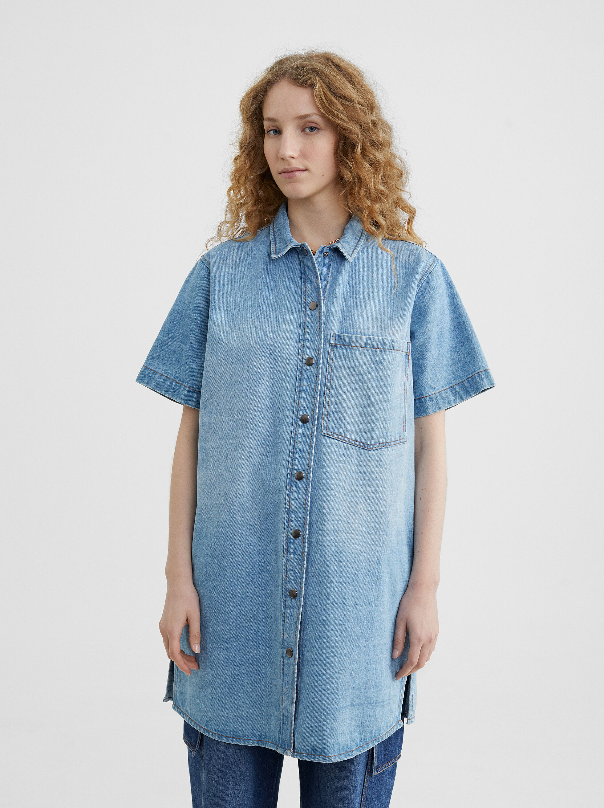 Denim Shirt Dress, Blue, hi-res