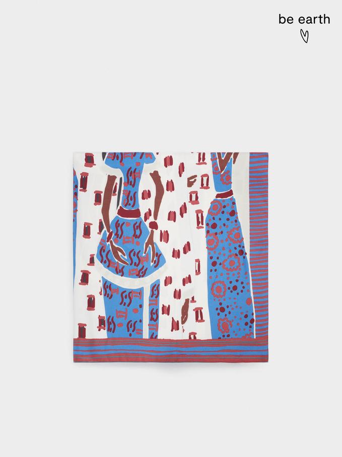 Quadratisches Halstuch Mit Print, Blau, hi-res