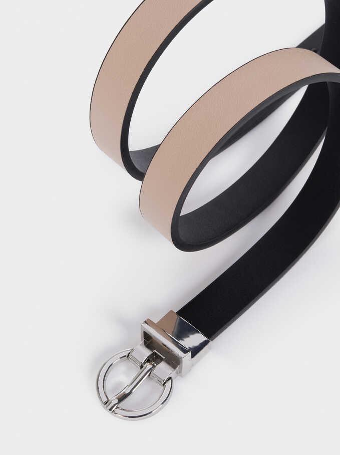 Cinturón Reversible Hebilla Metálica, Negro, hi-res