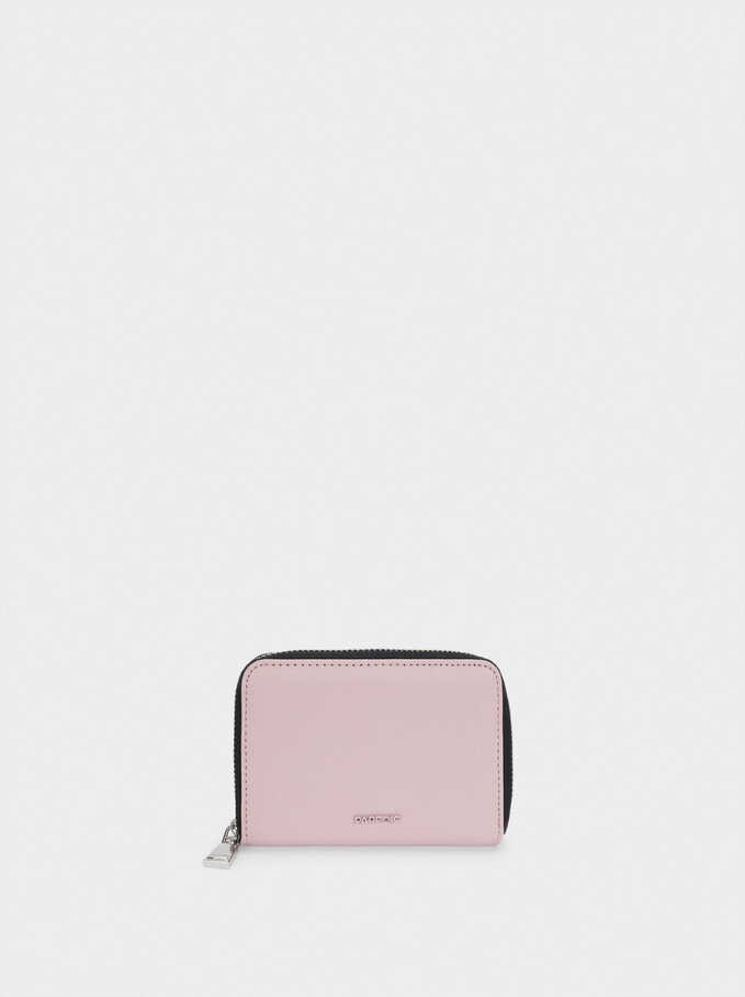 Portefeuille Compact En Nylon, Rose, hi-res