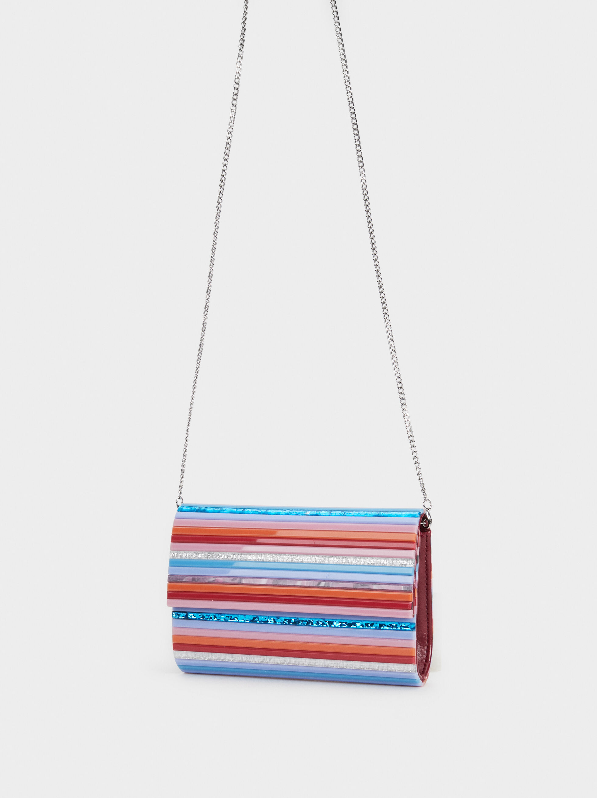 Striped Party Clutch, Coral, hi-res