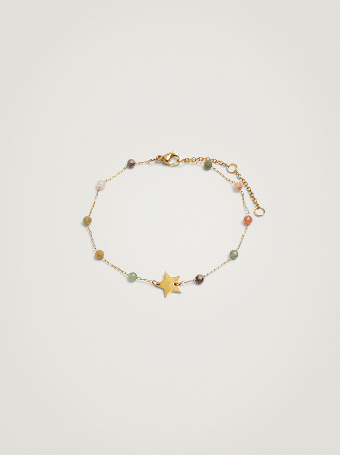 Stainless Steel Bracelet With Stones And Star, Multicolor, hi-res