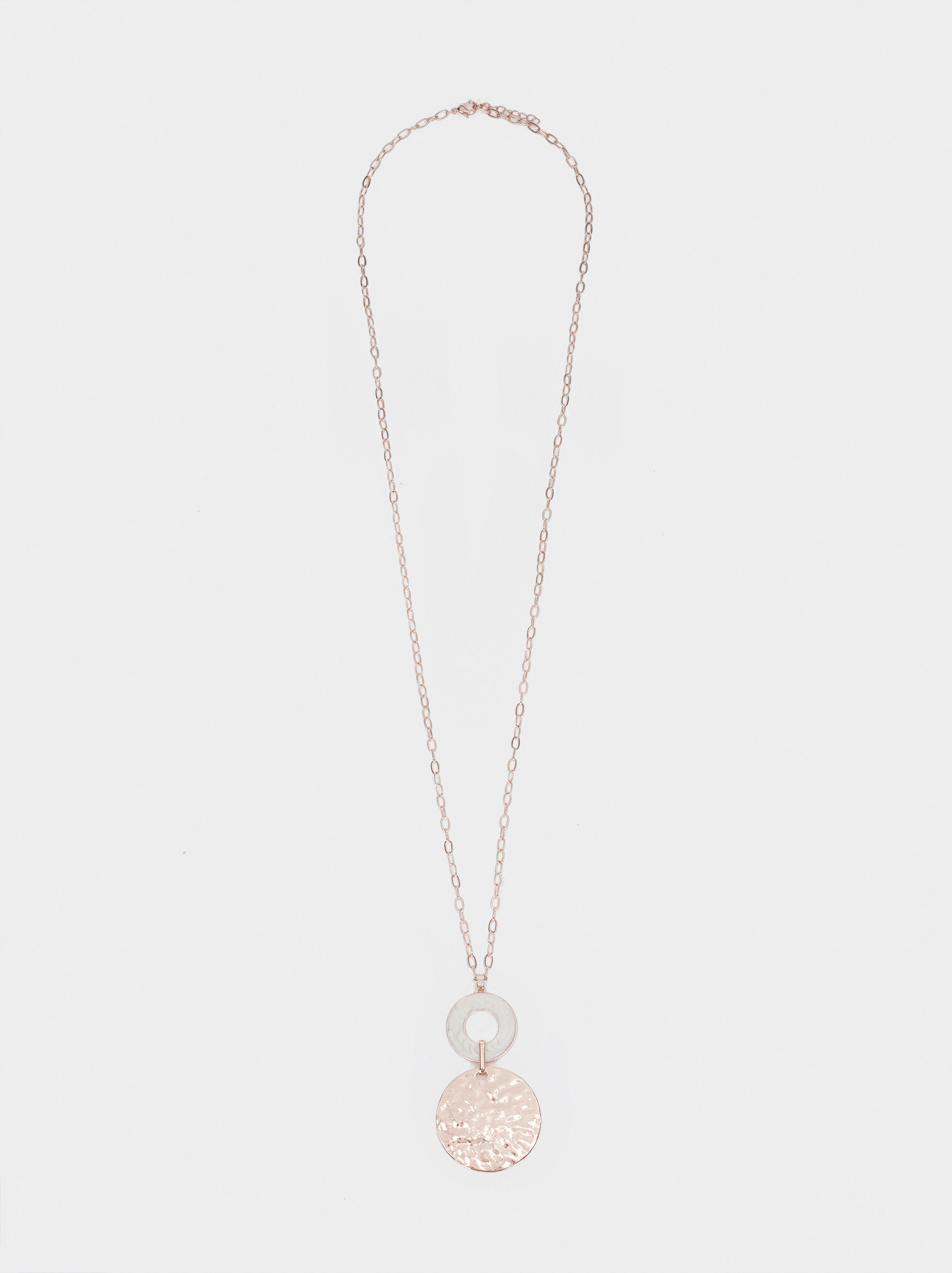 Long Rose Gold Necklace With Locket, Orange, hi-res