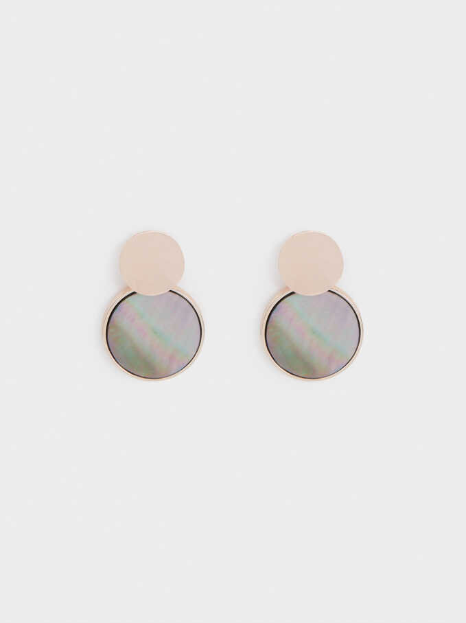 Medium Rose Gold Earrings With Shell, Orange, hi-res