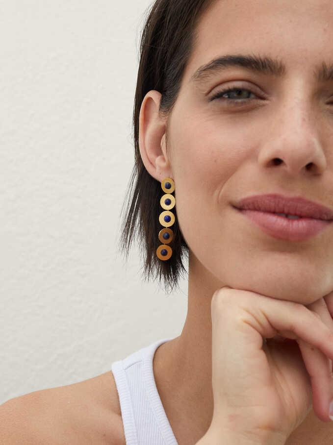 Steel Long Earrings With Stones, Blue, hi-res