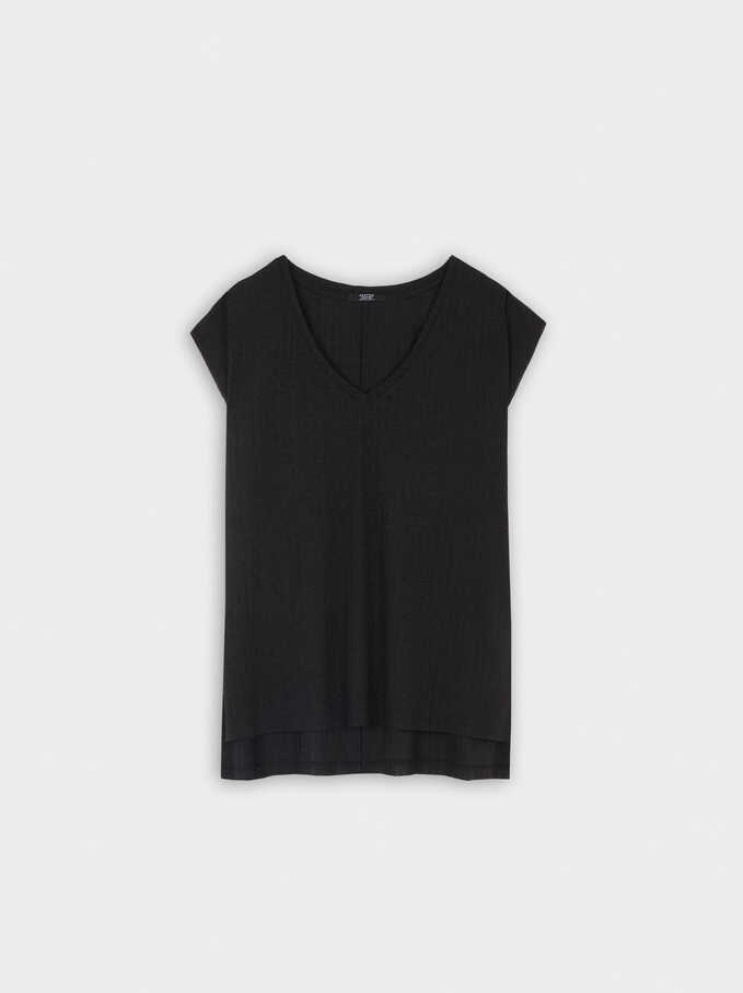 Sleeveless V-Neck Top, Black, hi-res