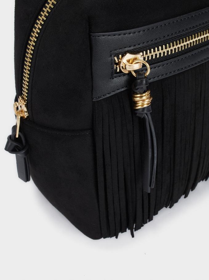 Faux Suede Backpack With Fringe Details, Black, hi-res