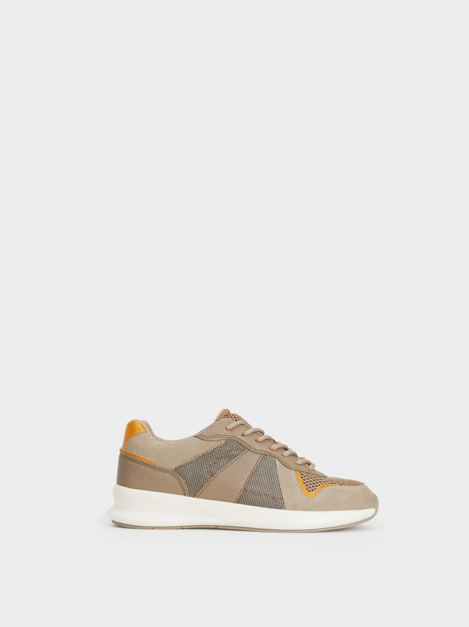 Trainers With Mesh Trim, Brown, hi-res