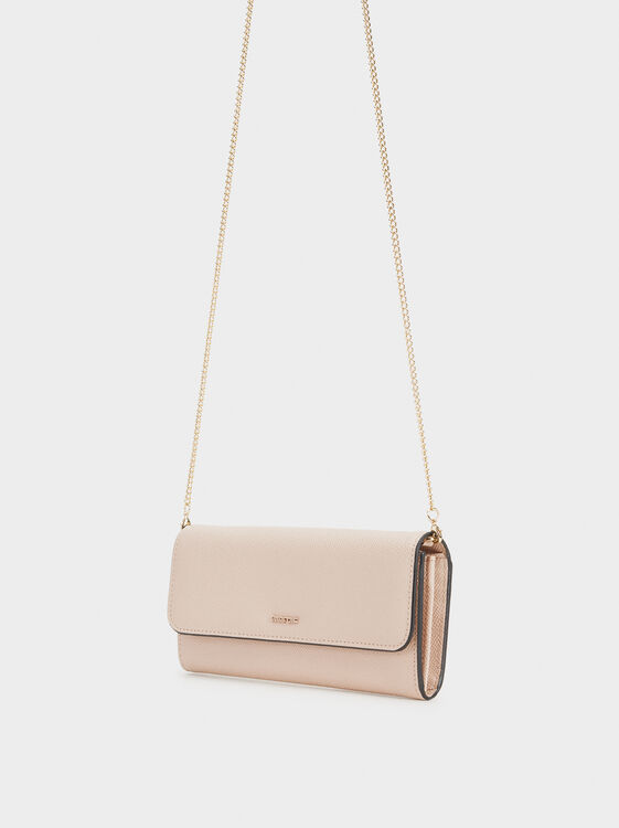 Purse With Contrast Borders, Pink, hi-res