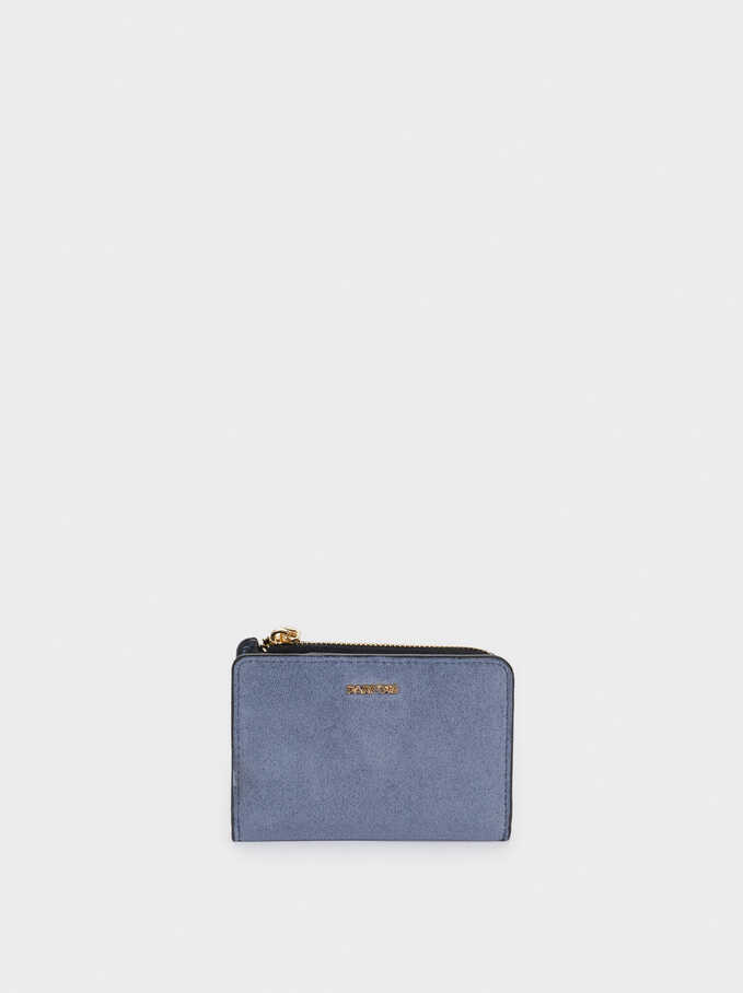 Faux Suede Card Holder, Blue, hi-res