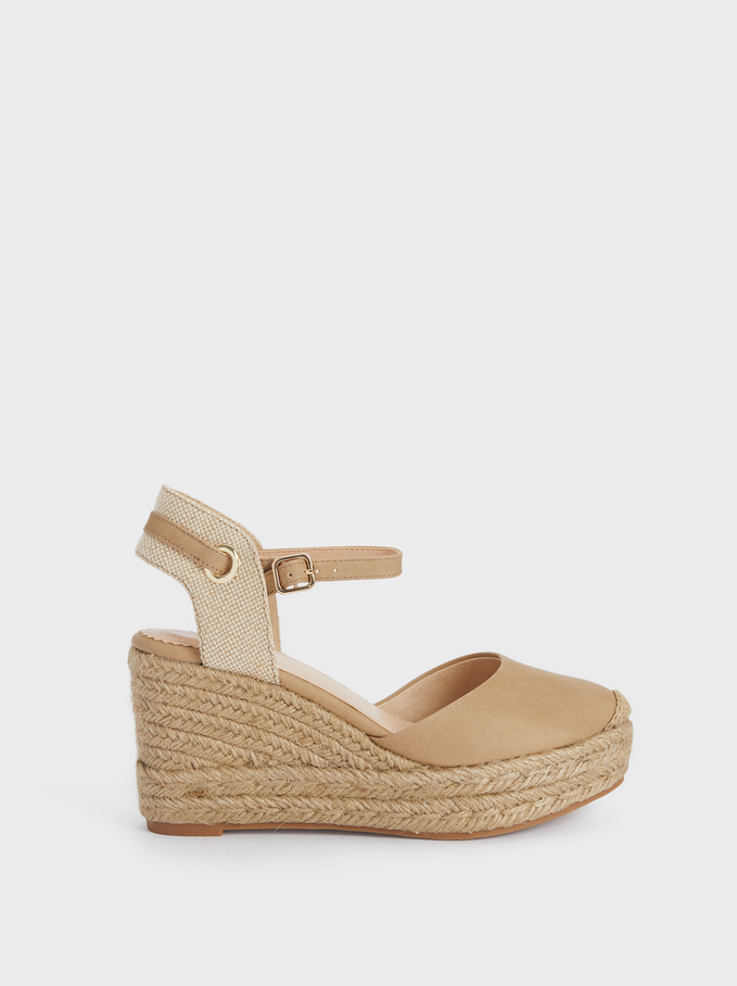 Wedge Espadrilles With Ties, Beige, hi-res