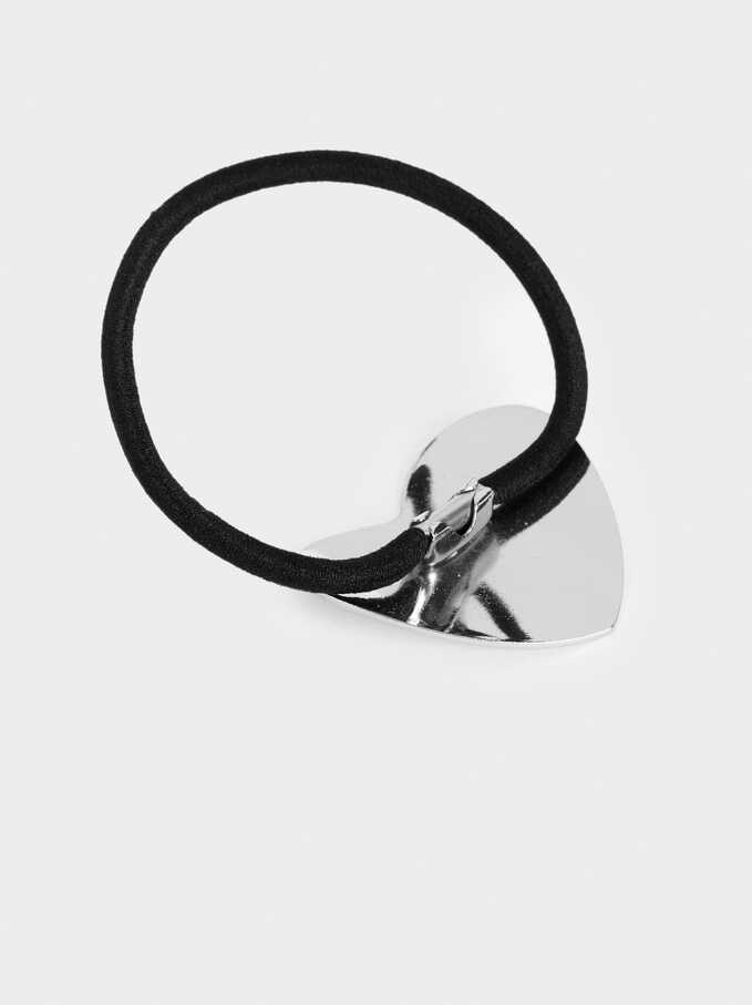 Hair Tie With Silver-Toned Detail, Silver, hi-res