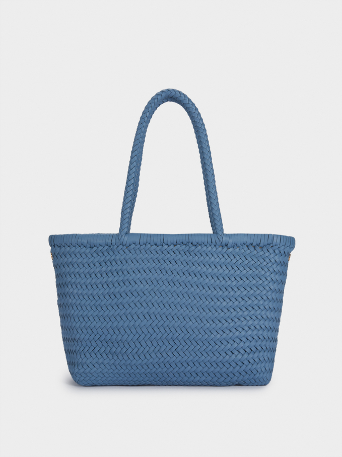 Hand Made Braided Tote Bag, Blue, hi-res