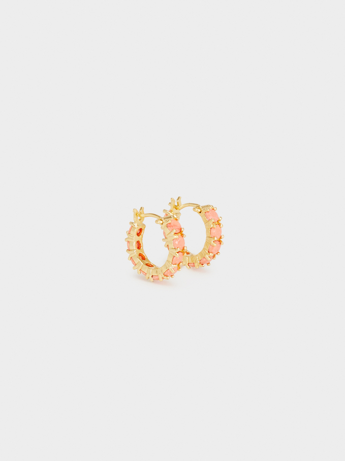 925 Silver Fake Coral Hoop Earrings, Coral, hi-res