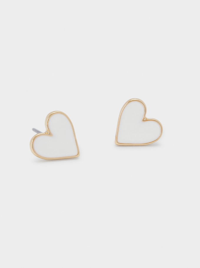 Short Earrings With Hearts , Golden, hi-res