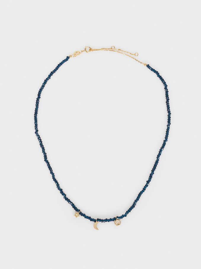 Collar Corto De Plata 925 Abalorios, Azul Marino, hi-res