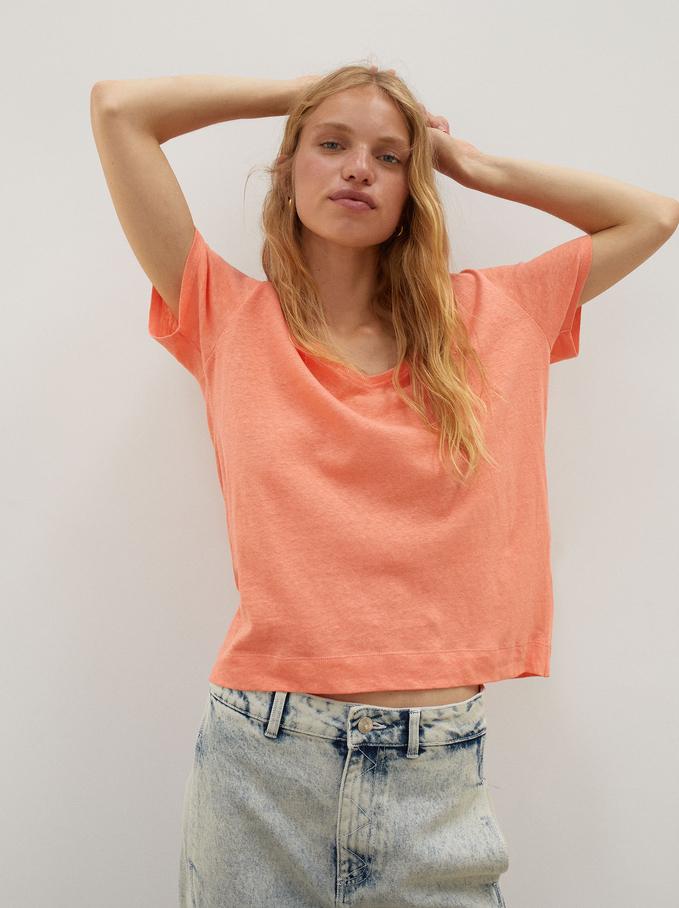 Leinen-T-Shirt Mit V-Ausschnitt, Rosa, hi-res