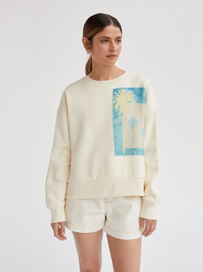 Round Neck Palm Tree Sweatshirt, Ecru, hi-res