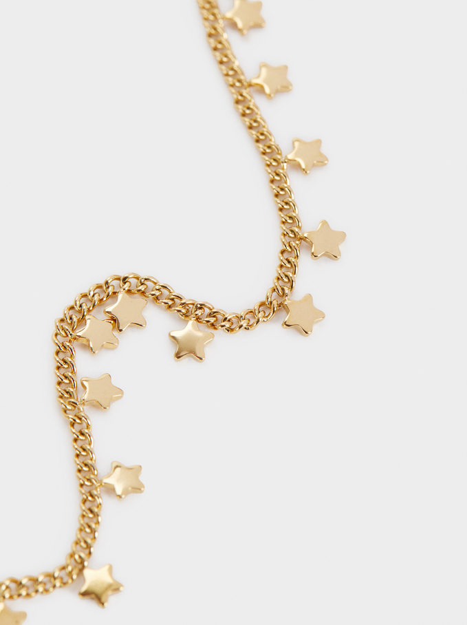 Golden Stainless Steel Bracelet With Stars, Golden, hi-res