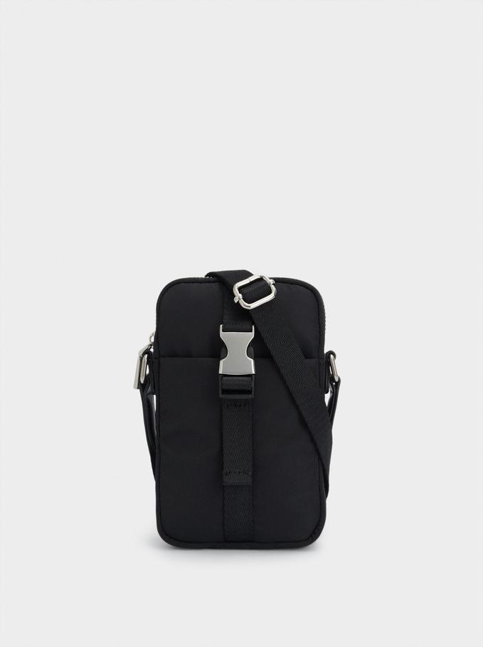 Nylon Mobile Phone Case With Shoulder Strap, Black, hi-res