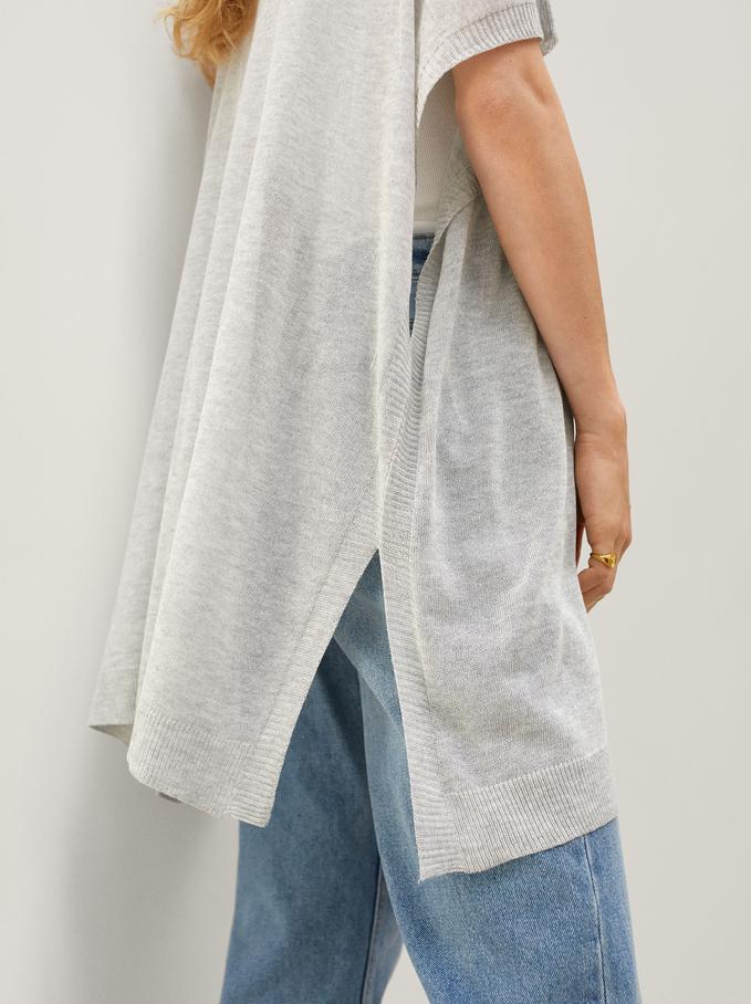 Round-Neck Knit Sweater, Grey, hi-res