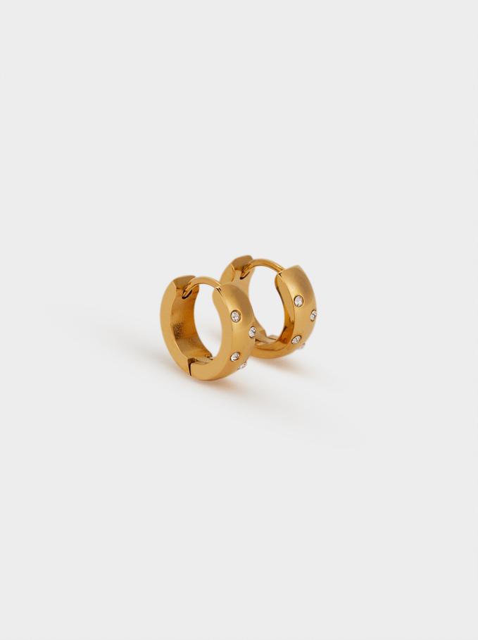 Small Steel Hoop Earrings With Rhinestones, Golden, hi-res
