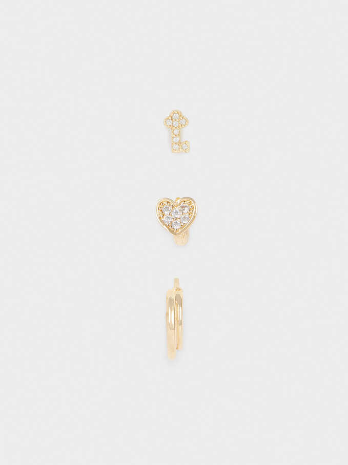 Set Of Small Hoops With Heart And Zirconia, Golden, hi-res