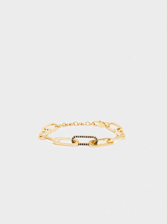 Stainless Steel Links Bracelet, Golden, hi-res