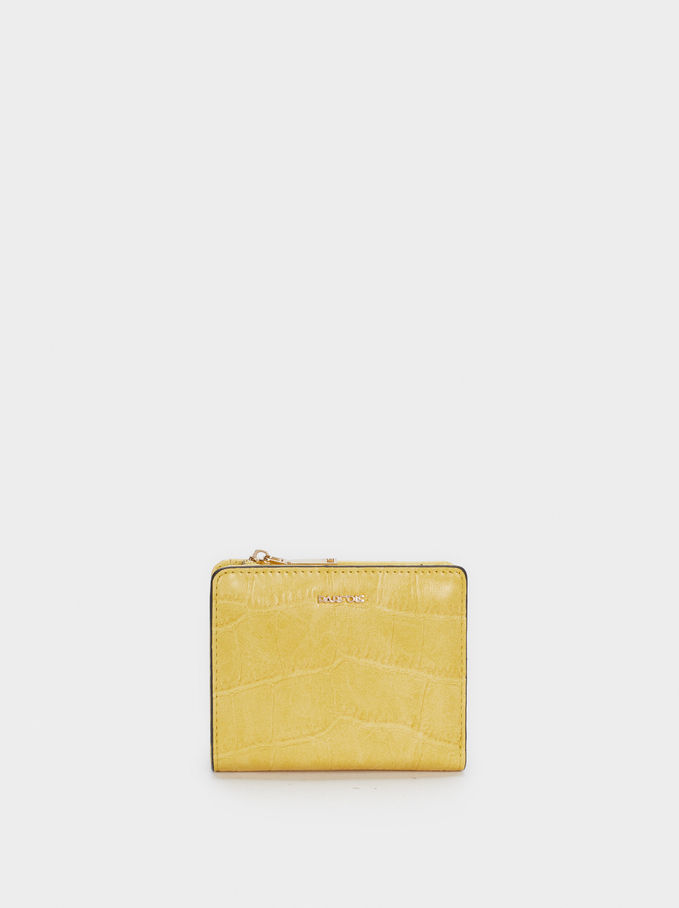 Embossed Animal Print Plain Purse, Yellow, hi-res