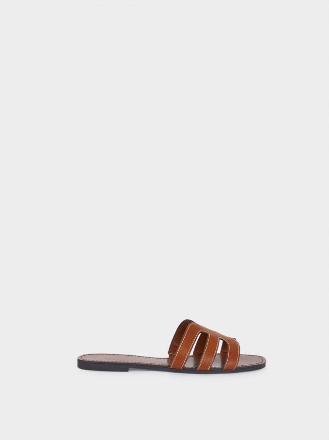 Sandales Plates Gravées Animal, Marron Clair, hi-res