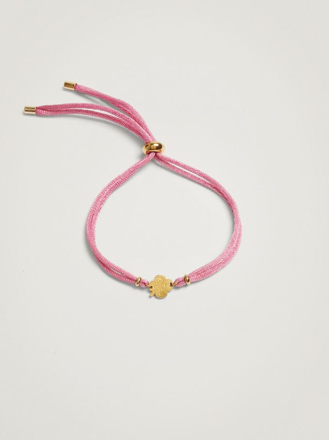 Adjustable Bracelet With Steel Shamrock, Pink, hi-res