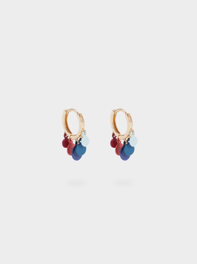 Petites Créoles Avec Pendentifs, Multicolore, hi-res