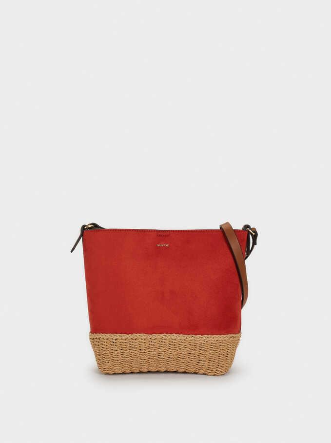 Faux Suede Bucket-Style Bag, Brick Red, hi-res