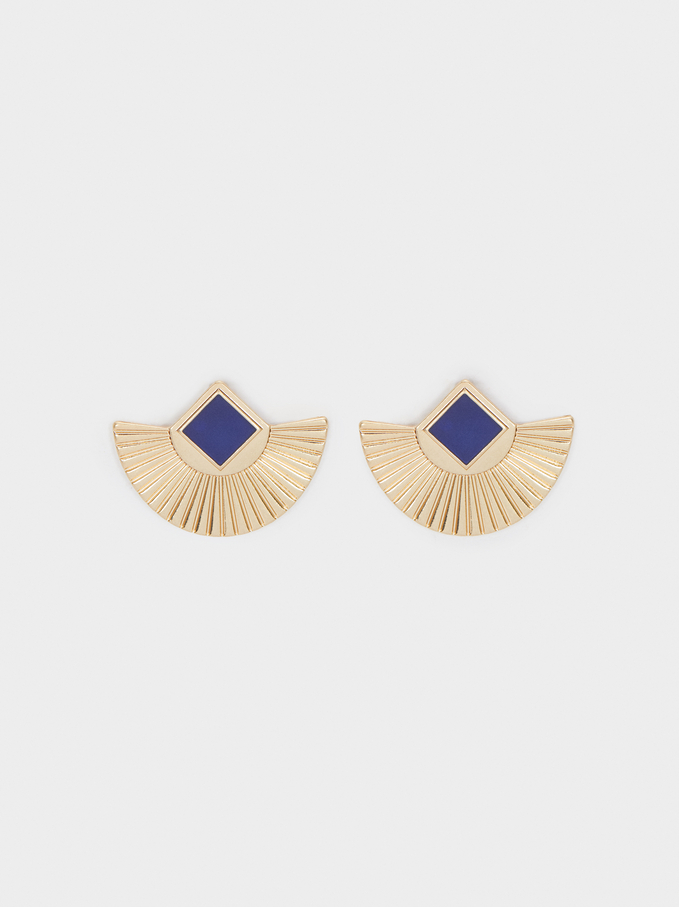 Short Earrings With Gem, Blue, hi-res