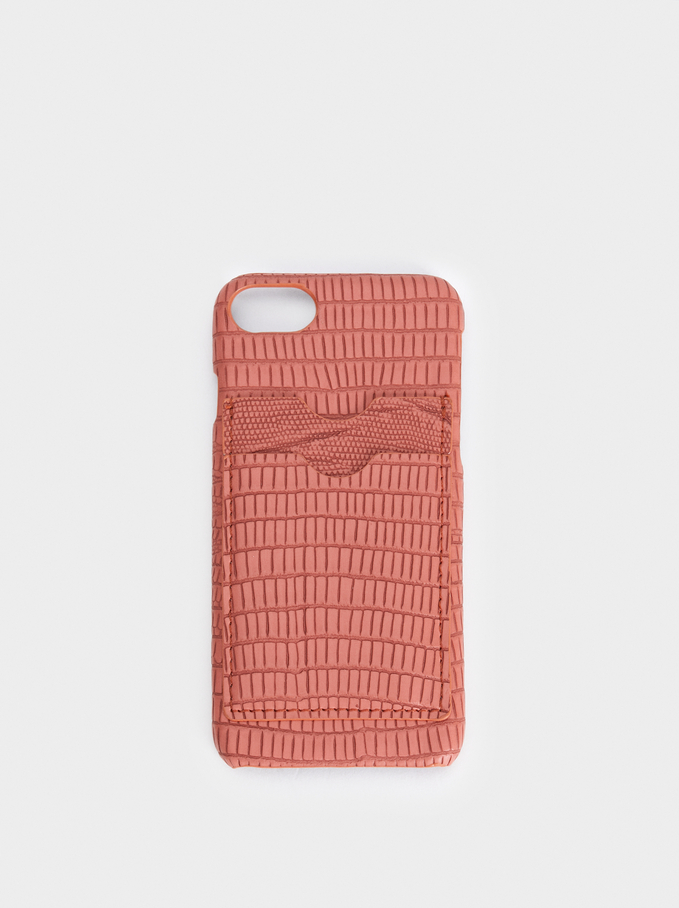 Iphone 6/7/8 Case With Card Holder, Pink, hi-res
