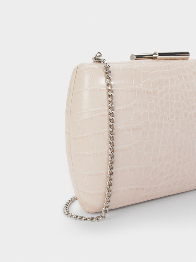 Embossed Animal Party Clutch, Pink, hi-res