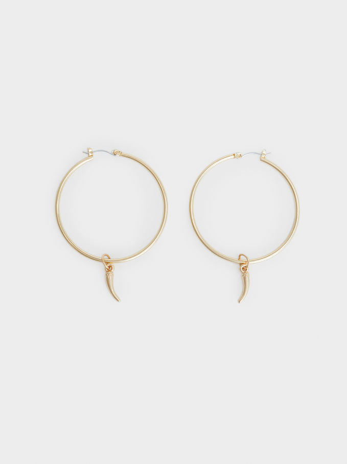 Hoop Fever Large Hoop Earrings, Golden, hi-res