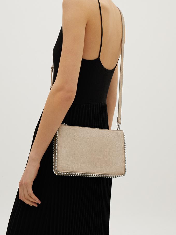 Studded Crossbody Bag, Ecru, hi-res