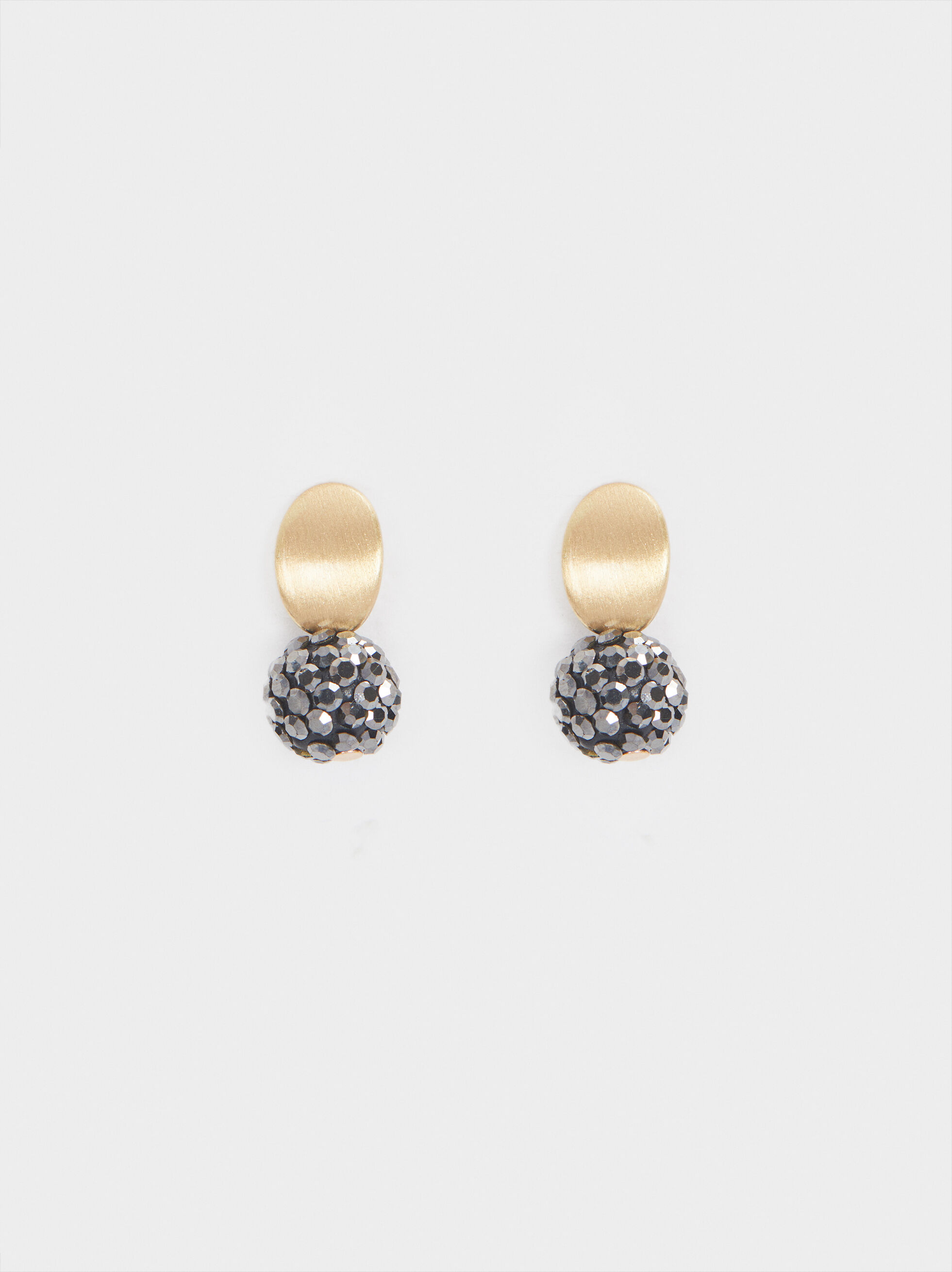 Short Gold Earrings With Gem, , hi-res