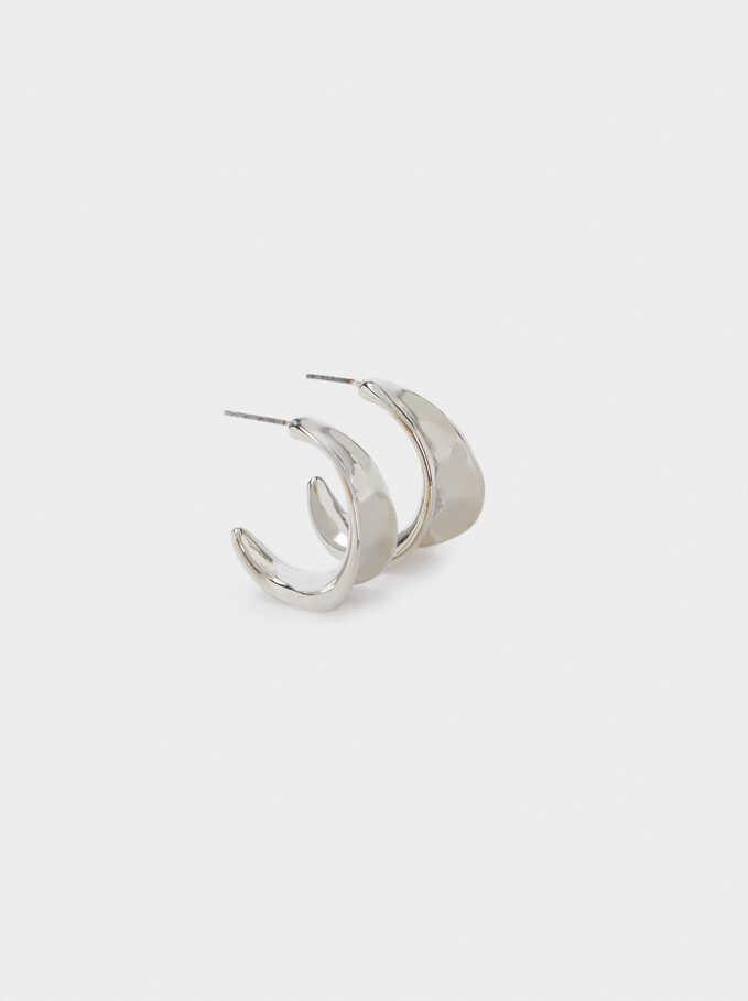 Small Silver Hoop Earrings, Silver, hi-res