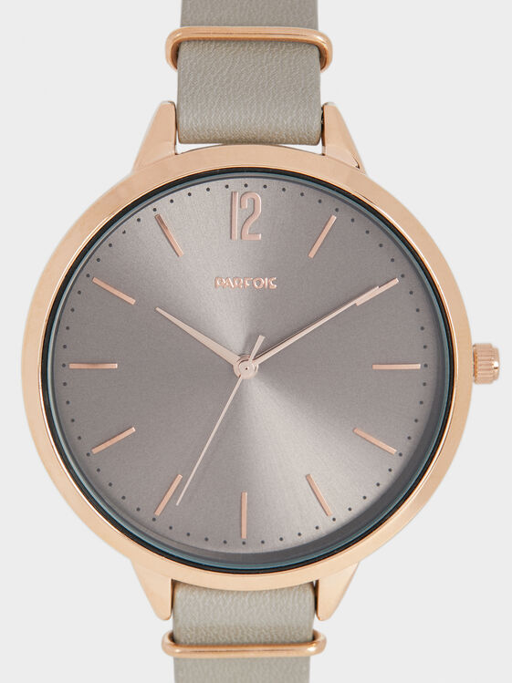 Watch With Metallic Details On The Wristband, Grey, hi-res