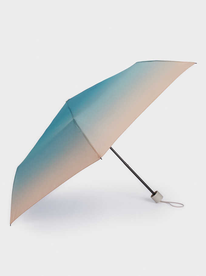 Small Folding Ombré Umbrella, Blue, hi-res