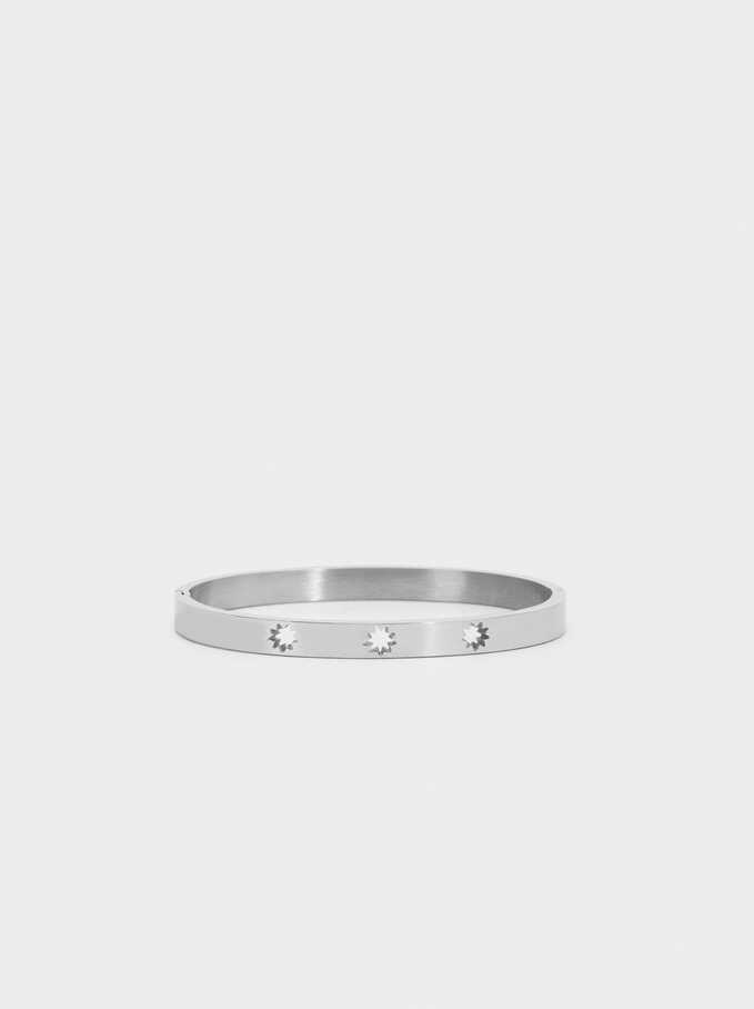 Stainless Steel Bracelet With Stars, Silver, hi-res