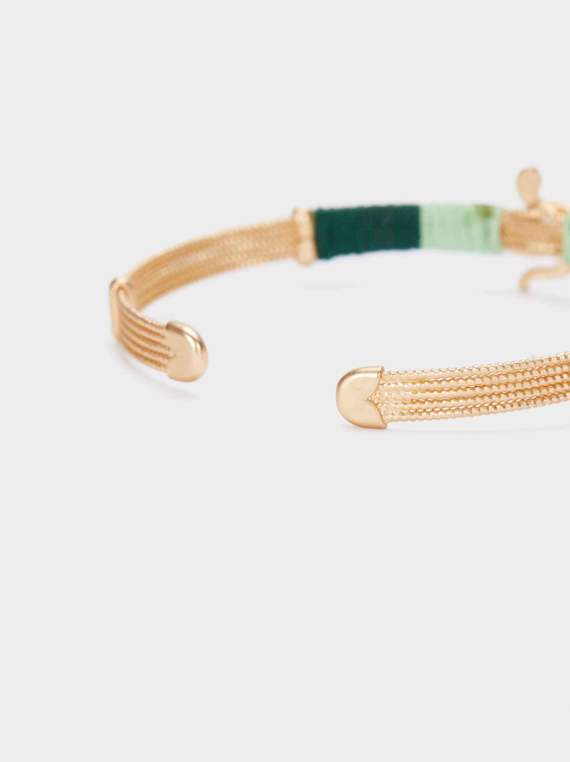 Gold Bracelet With Thread And Snake, Multicolor, hi-res