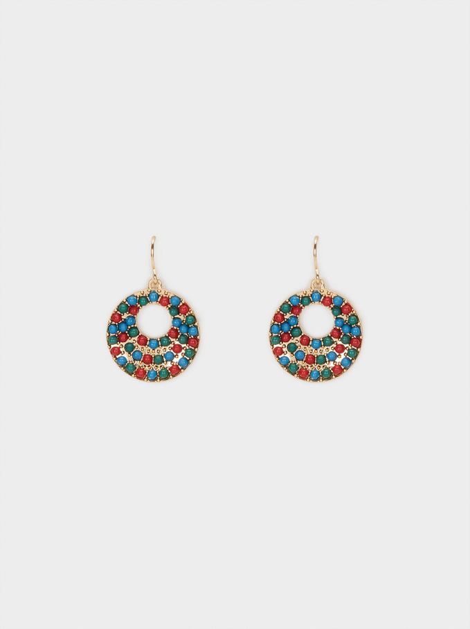 Medium Earrings With Multicoloured Beads, Multicolor, hi-res