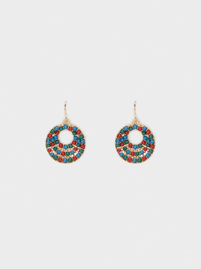 Earrings With Multicoloured Beads, Multicolor, hi-res